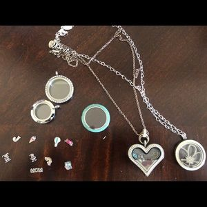 Origami owl lot necklace and pendants